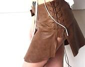 leather mini skirt, burning man, tribal leather skirt, brown flower leader skirt, sexy skirt