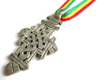 Ethiopian Cross Necklace - Rasta Jewelry - Cross Red Gold and Green Necklace - Rastafari Cross - Dancehall Necklace - Reggae Jewelry