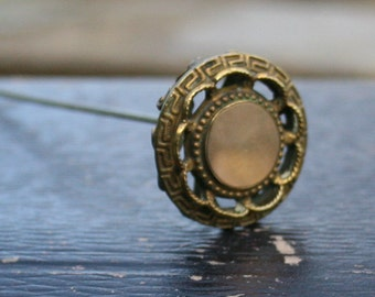 Antique Hatpin Edwardian Art Nouveau 1900s Hat Pin Brass/Gold Filled