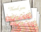 Set of 25 Gold and Pink/ Champagne and Strawberry Thank You cards for Bridal Shower / Wedding / Party / Personal Use / Baby Shower
