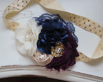 Plum, Cream and Navy headband, navy headbands, newborn headbands, plum headbands, photography prop, navy and gold headbands