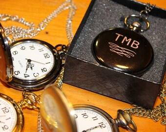 Personalized Engraved Gunmetal Gray Finish Pocket Watch, Groomsmen Gift, Mens Pocket Watch, Pocket Watch gift