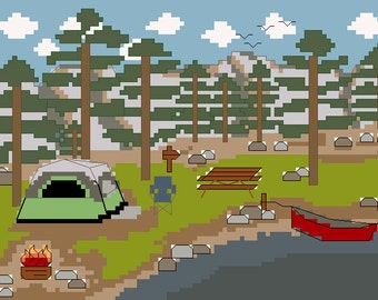 PDF PATTERN - Camping by the Lake with Dome Tent  - Counted Cross Stitch