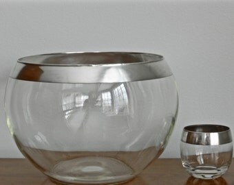 Vintage Dorothy Thorpe Silver Band Punch Bowl Mid Century Barware