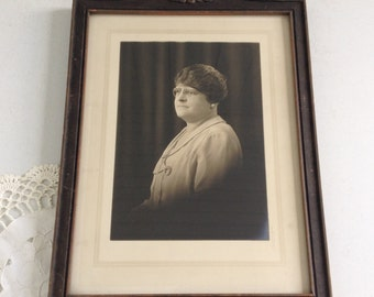 Antique Framed Portrait Photo of a Woman in her Sunday Best