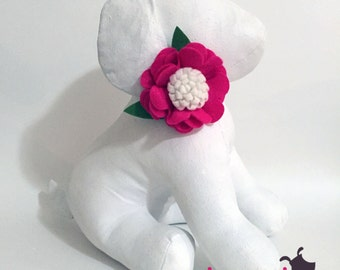 Hot Pink and White Felt Flower Collar Accessory