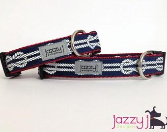 Nautical Knots Navy Blue Dog Collar