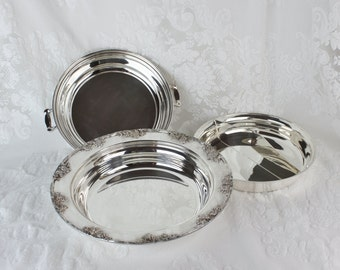 Silverplate Divided Dish with Lid- Three Piece vintage silverplate by Academy- Silver on Copper 6030-22- Round, grape cluster design