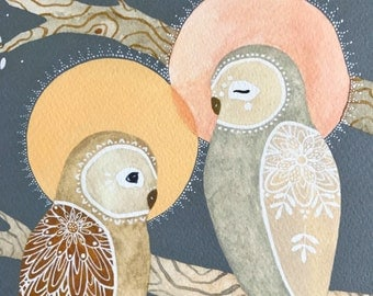 Owl Illustration Art - Watercolor Painting - Archival Print - Spirit Owls by Marisa Redondo