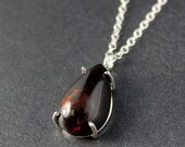 SALE Reserved for V - Teardrop Black Opal Necklace - Vibrant Red – Australian Opal