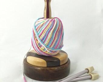 Stripped Walnut Yarn Spindle KB101