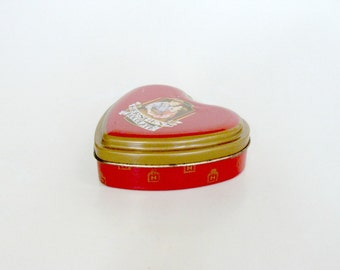Hershey's Chocolate Heart Shaped Red Gold Tin Box, Collectible Decorative Trinket Tin Box, Valentine Keepsake