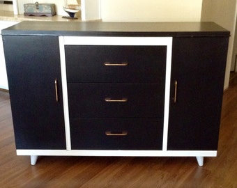 White and Black  Mid Century Compact  Sideboard, Buffet Server