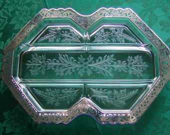 JUST REDUCED Vintage Fostoria 5-Part Relish Dish Crystal Mayfair Custom Etched and Embellished