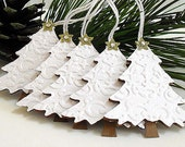 Embossed White Christmas TREE Tags