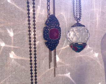 Dionaea Necklace -- oxblood and brass tone pendant & reclaimed chain necklace