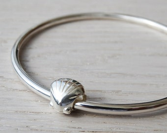 Solid Silver Bangle & Silver Seashell Bead - Sterling Silver