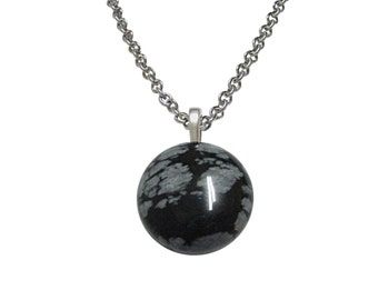 Round Snowflake Obsidian Necklace