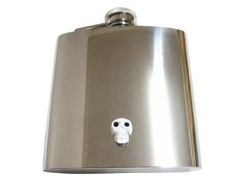 White Skull 6 oz. Stainless Steel Flask