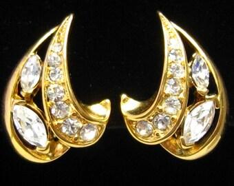 "CLEARANCE CROWN TRIFARI Rhinestone & Gold Tone Vintage Comfort Clip Earrings.  1"" H x 5/8"" W."