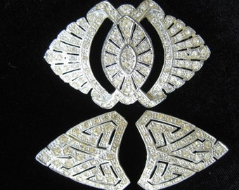 3 in 1 Rhinestone Duette (Triquette)  Brooch. Art Deco 1930's Pot Metal with Rhodium Finish. Base Brooch Lovely. Add Clips for Bigger/Better
