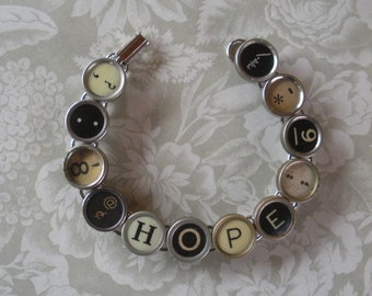 Vintage Typewriter Key Bracelet --HOPE--