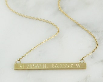 Solid 14k Gold Bar Necklace - Personalized Necklace - Coordinate Necklace - Custom Name Necklace