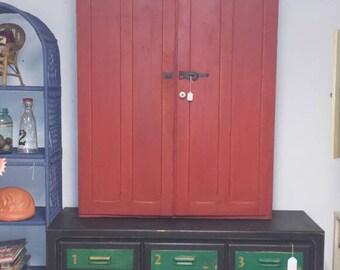 Original Wooden Farmhouse Primitive Cupboard