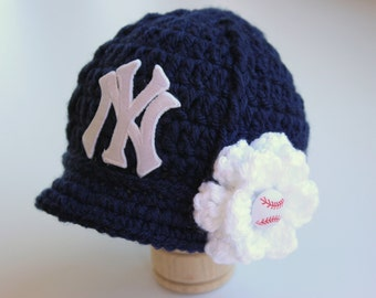 Baby Girl NY Yankees - Hat - Knitted / Crochet - Baby Girl Gift / Newborn - Photo Photography Prop - Baseball