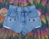 RESERVED 90s Disney Cut Off Distressed Denim Jean Shorts Festival Coachella Summer Mickey Mouse Minnie Flowers Grunge Revival MEDIUM