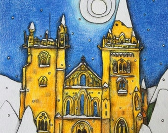 Llandaff Cathedral Winter Cardiff print A4 Made in Wales
