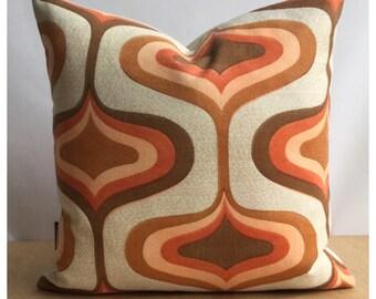 Original Vintage Orange  Psychedelic Fabric Cushion Cover