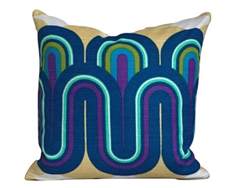 Cushion Cover Vintage 70s Psychedlic Fabric Retro