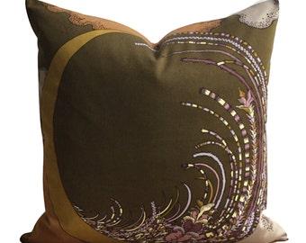 "Cushion Cover Vtg 70s Harvest Moon Fabric Karen MacDonald For Heals 22"""