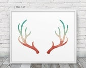 Coral & Mint Antlers Print. Triangle Geometric Print. Antlers Wall Art. Red Teal Geometric Art. Modern Wall Art Home Office Decor. Printable