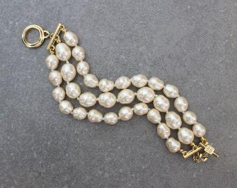 vintage 80s GIVENCHY faux pearl bracelet / triple three strand baroque pearl bracelet / designer bracelet / bridal wedding bracelet