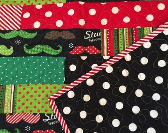 Child size lap quilt 35 x 35 Christmas Staching through the Snow