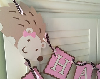 Hedgehog Birthday Banner, Hedgehog Party, Woodland Birthday Party, Customized in any Color Combination, Personalized Birthday Banner