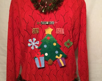 Christmas Tree Merry and Bright Ugly Christmas Sweater Large Joy Noel Snowflake red and green sparkly