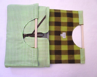 SALE Lime & Brown Plaid Dish Tote FREE SHIPPING - Machine Washable, Lime Green and Chocolate Brown Plaid, with Free Recipe