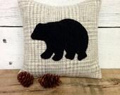 Decorative Balsam Pillow, Black Bear Pillow, Rustic Cabin Pillow, Small Pillow, Bear Decor, Winter Pillow, Sachet Pillow, 6x6 Pillow