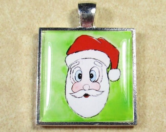 Santa Claus Pendant, Christmas Necklace, Santa Claus Necklace, Christmas Pendant, Kids Jewelry, Girls Jewelry, Kids Necklace