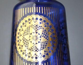 Vintage Blue Glass Vase Cobalt Gold Glassware Mod Decor Mid Century Modern Decor Mad Men Eames Vintage Home Design Eames Living Room Planter