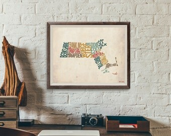 Massachusetts by County - Typography Print