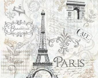 "French Victorian Art Collage, ""Paris"" , Travel decor, France, French tourist decor""  10x10"""