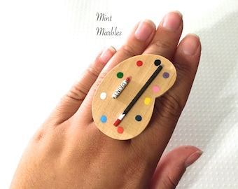 Artist's Delight Statement Ring. Miniature Wood Paint Palette. Colorful. Kitsch. Painter. Creative. Crafty. Vintage Style Brass. Under 20.