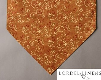 """Gold Scroll Design Table Runner on Caramel Colored Background, Small 36"""" Table Runner, Fall Color Table Runner, Table Decor"""