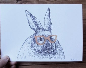 Rabbit in Nerd Glasses A5 Print - Rabbit Illustration