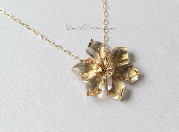 Gemstone Snowflake Necklace, Champagne Quartz Faceted Tilak Briolettes, Gold-filled Chain, Wire. Holiday Gift. Wire Wrapped Snowflake. N011c
