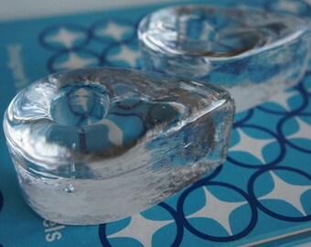 Pair Vintage Mid Century Blenko Glass Tear Drop Candle Holder #6128